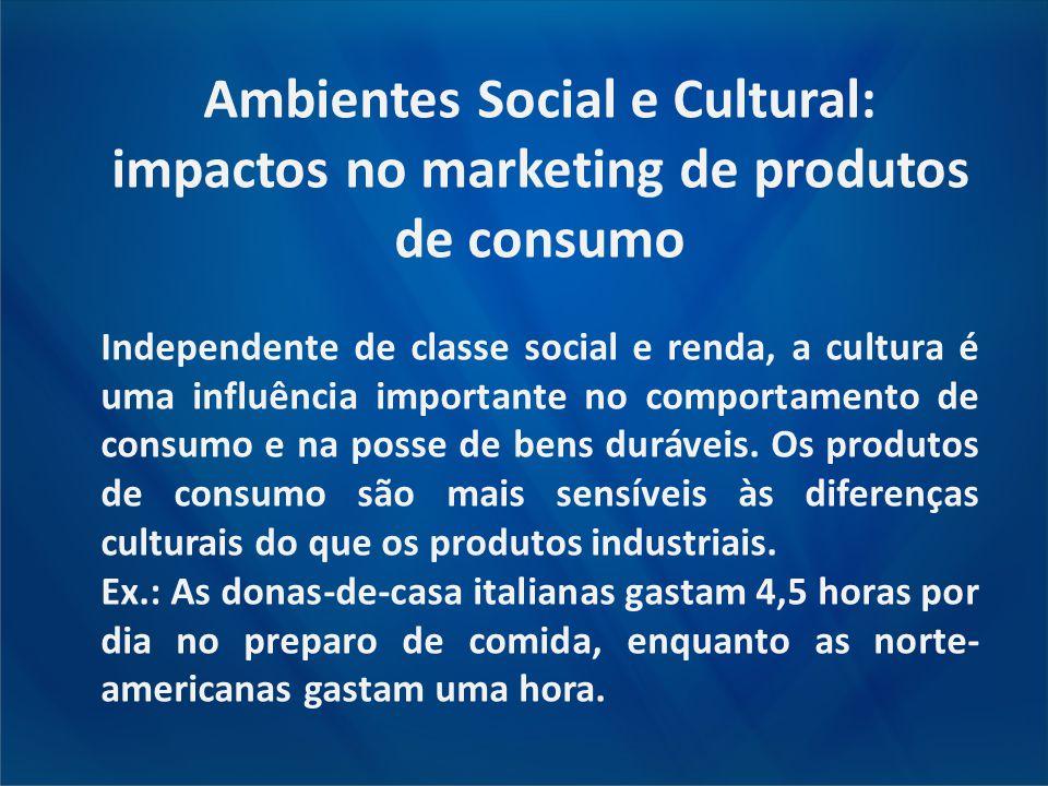 Ambientes Social e Cultural: impactos no marketing de produtos de consumo Independente de classe social e renda, a cultura é uma influência importante