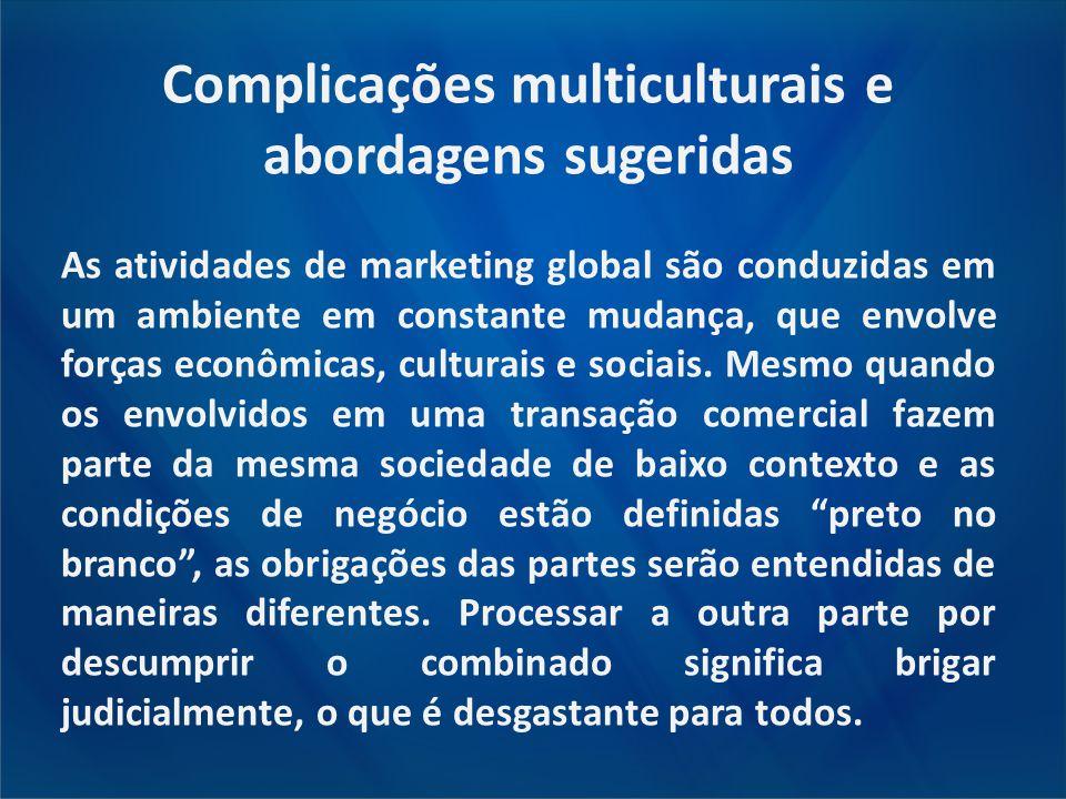 Complicações multiculturais e abordagens sugeridas As atividades de marketing global são conduzidas em um ambiente em constante mudança, que envolve f