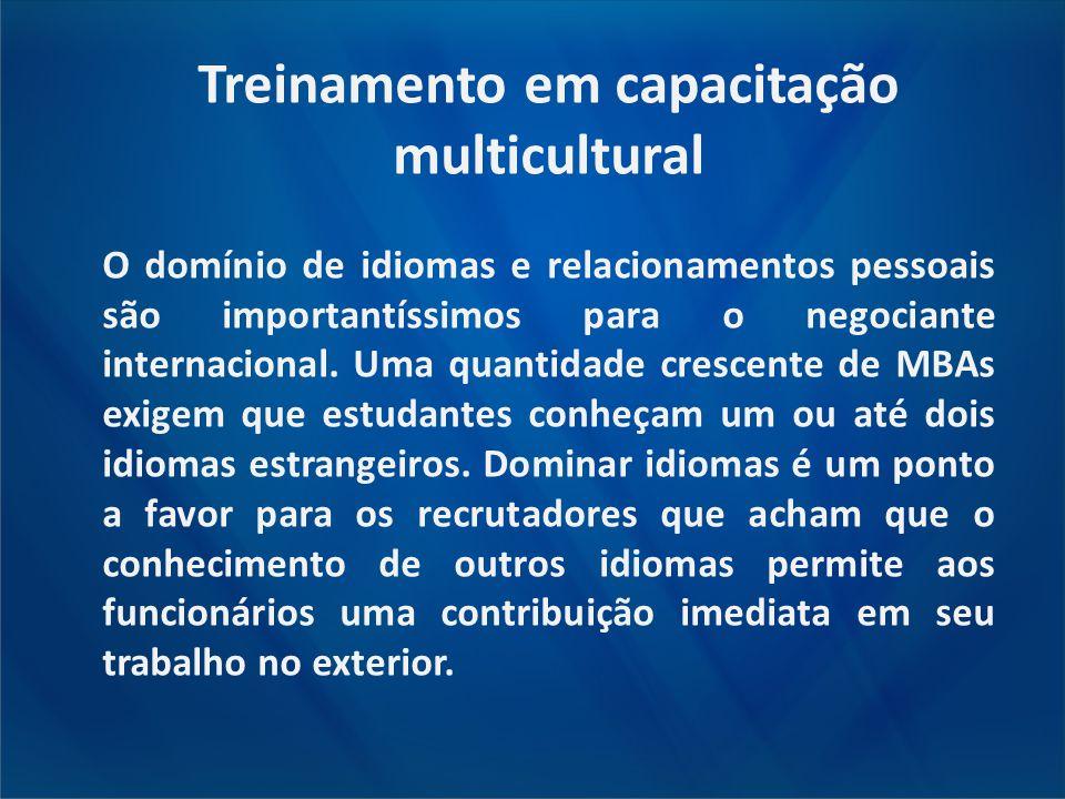 Treinamento em capacitação multicultural O domínio de idiomas e relacionamentos pessoais são importantíssimos para o negociante internacional. Uma qua