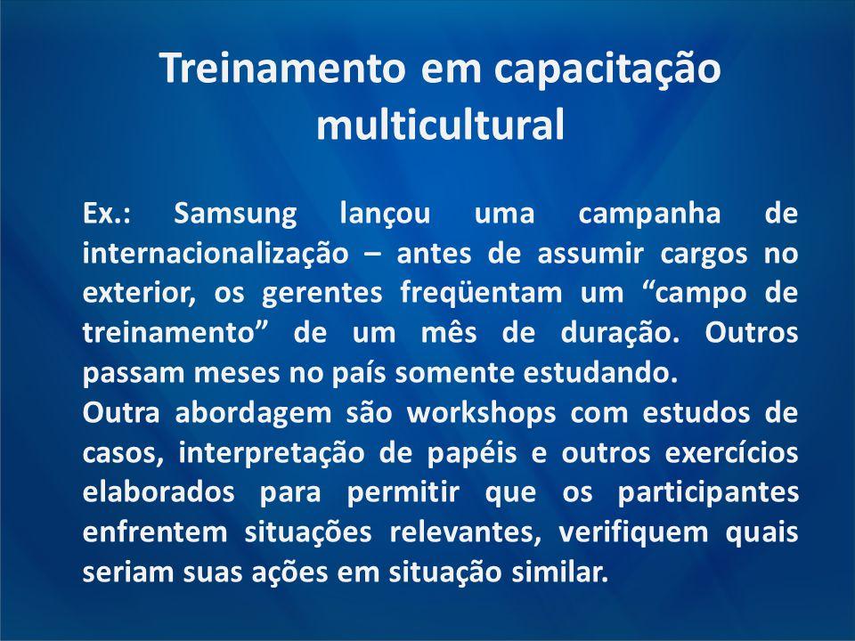 Treinamento em capacitação multicultural Ex.: Samsung lançou uma campanha de internacionalização – antes de assumir cargos no exterior, os gerentes fr