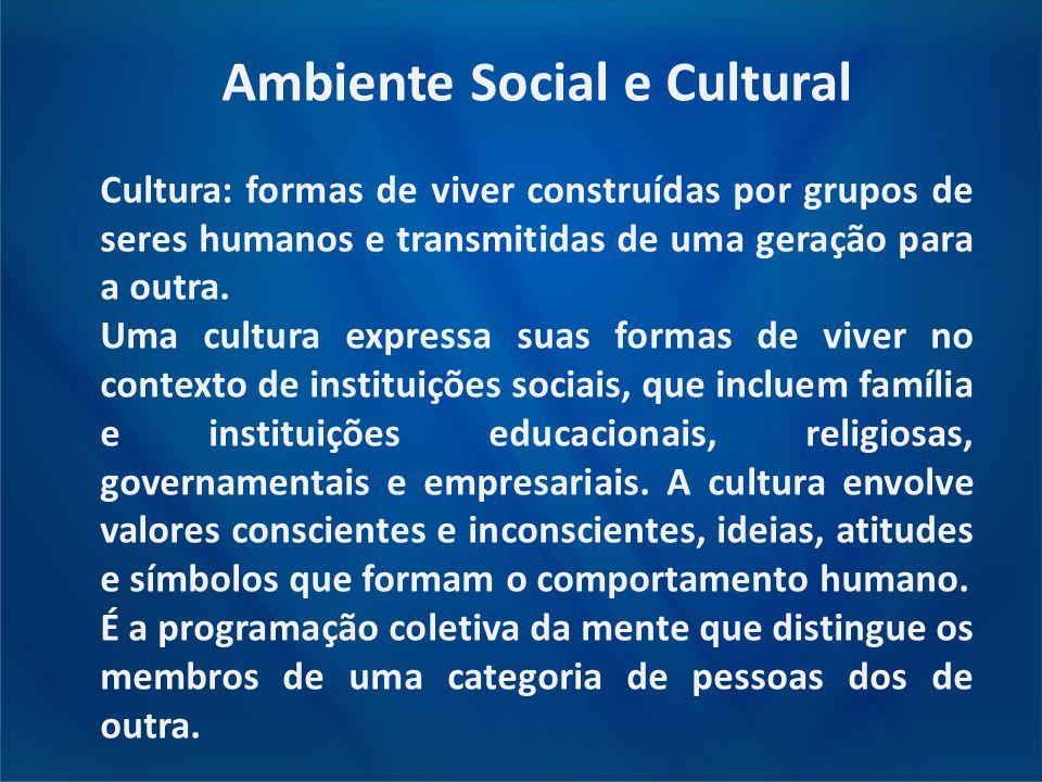 Ambiente Social e Cultural Cultura: formas de viver construídas por grupos de seres humanos e transmitidas de uma geração para a outra. Uma cultura ex