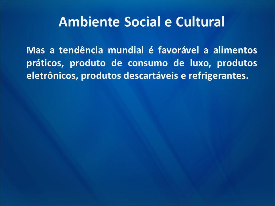 Ambiente Social e Cultural Mas a tendência mundial é favorável a alimentos práticos, produto de consumo de luxo, produtos eletrônicos, produtos descar