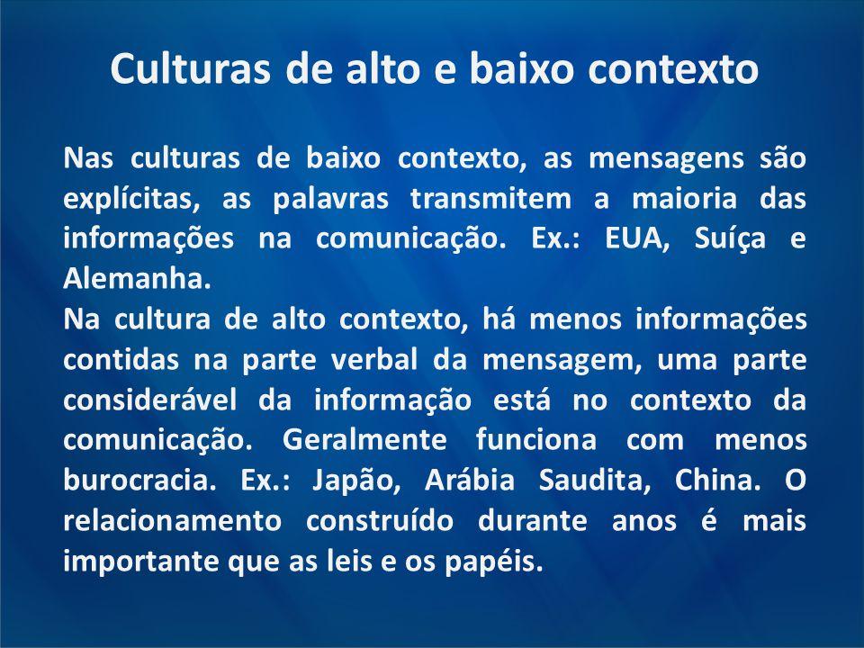 Culturas de alto e baixo contexto Nas culturas de baixo contexto, as mensagens são explícitas, as palavras transmitem a maioria das informações na com