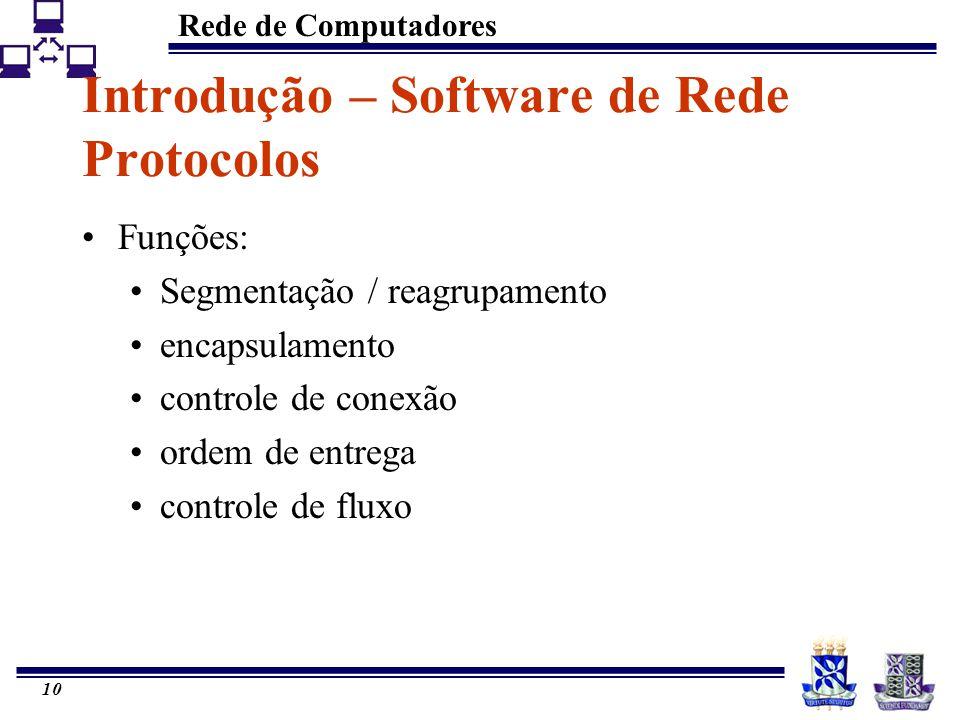 Rede de Computadores 10 Introdução – Software de Rede Protocolos Funções: Segmentação / reagrupamento encapsulamento controle de conexão ordem de entr