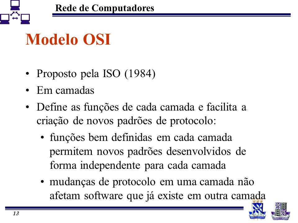 Rede de Computadores 13 Modelo OSI Proposto pela ISO (1984) Em camadas Define as funções de cada camada e facilita a criação de novos padrões de proto