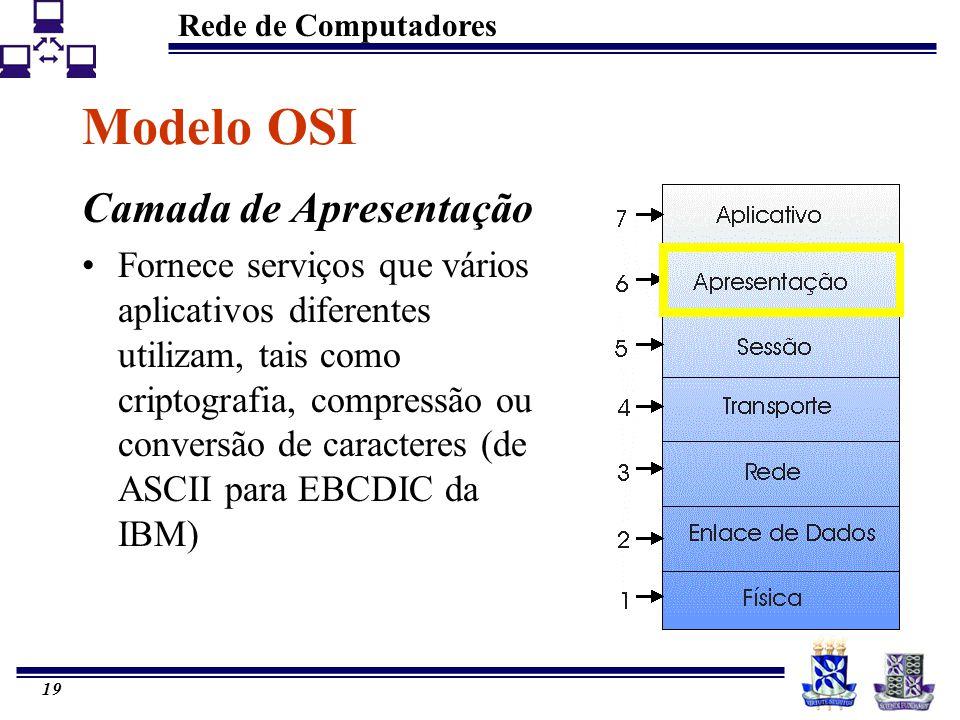 Rede de Computadores 19 Modelo OSI Camada de Apresentação Fornece serviços que vários aplicativos diferentes utilizam, tais como criptografia, compres