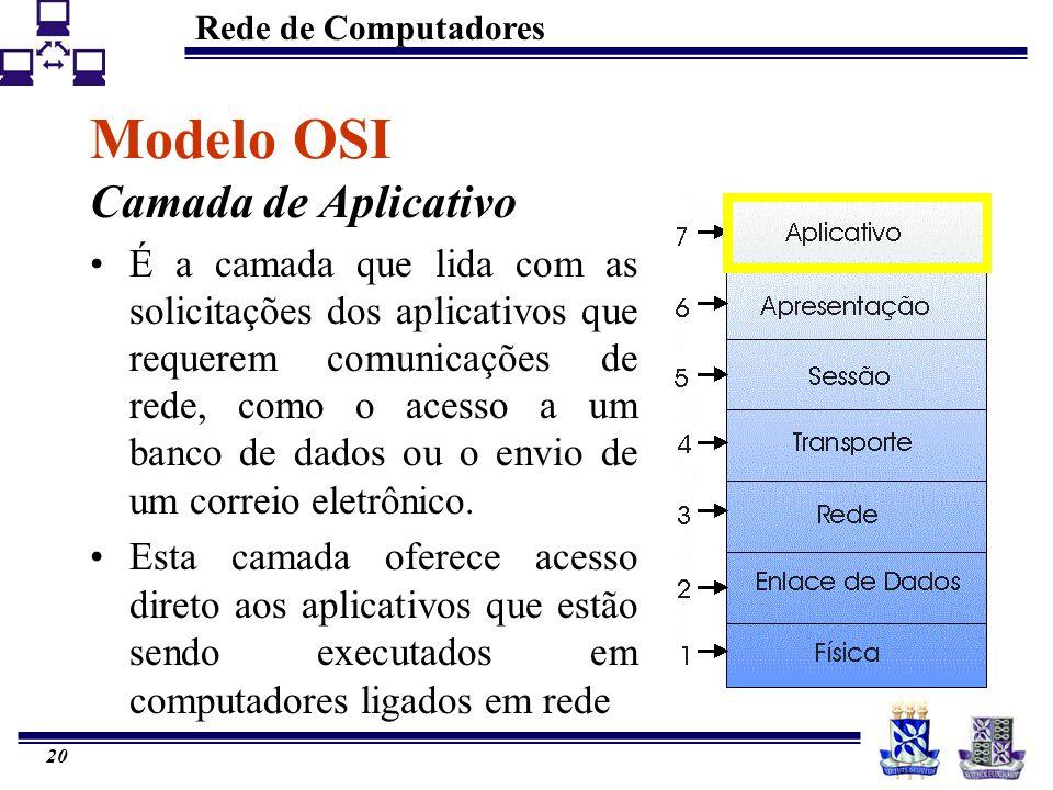 Rede de Computadores 20 Modelo OSI Camada de Aplicativo É a camada que lida com as solicitações dos aplicativos que requerem comunicações de rede, com