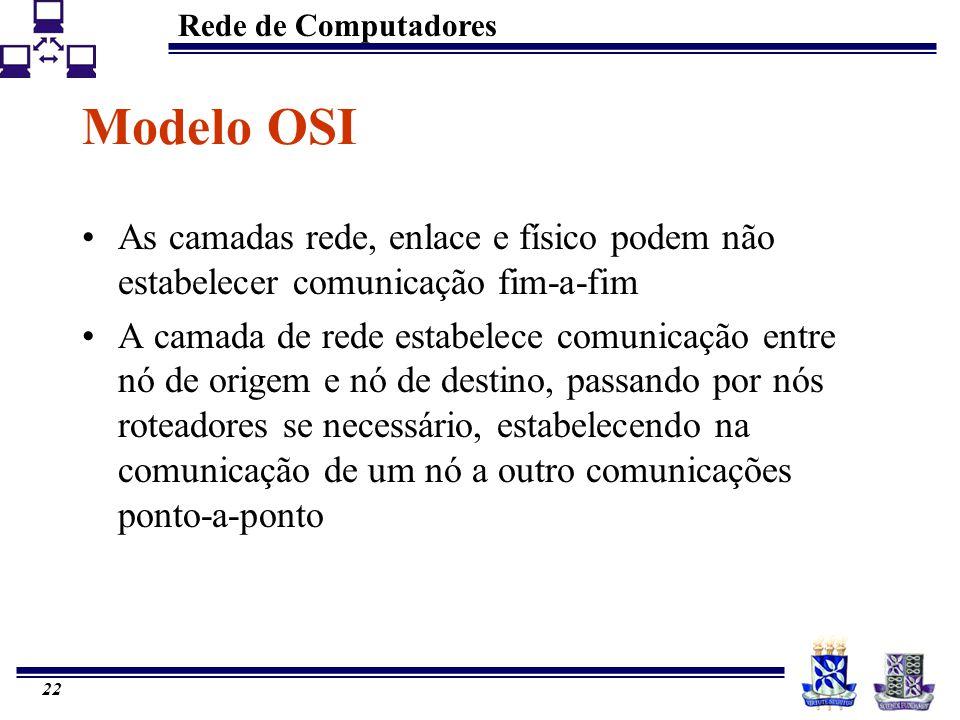 Rede de Computadores 22 Modelo OSI As camadas rede, enlace e físico podem não estabelecer comunicação fim-a-fim A camada de rede estabelece comunicaçã