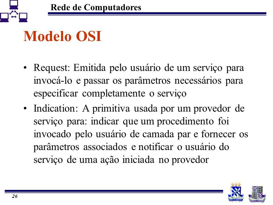 Rede de Computadores 26 Modelo OSI Request: Emitida pelo usuário de um serviço para invocá-lo e passar os parâmetros necessários para especificar comp