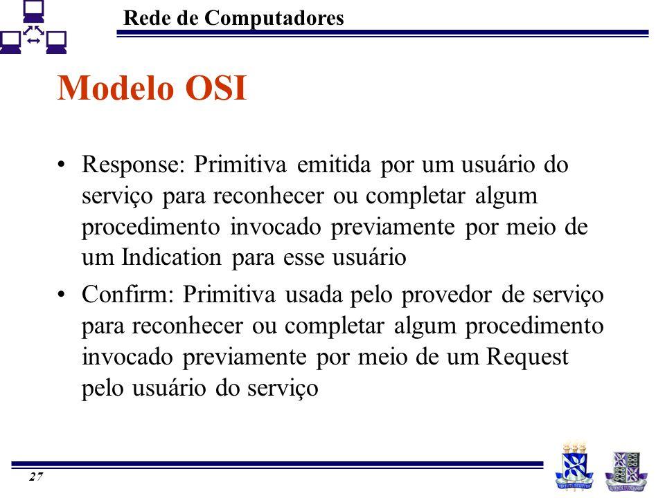 Rede de Computadores 27 Modelo OSI Response: Primitiva emitida por um usuário do serviço para reconhecer ou completar algum procedimento invocado prev