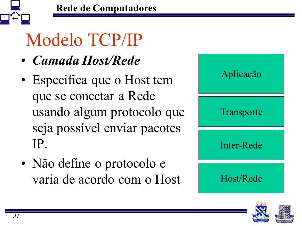 Rede de Computadores 31 Modelo TCP/IP Aplicação Transporte Inter-Rede Host/Rede Camada Host/Rede Especifica que o Host tem que se conectar a Rede usan