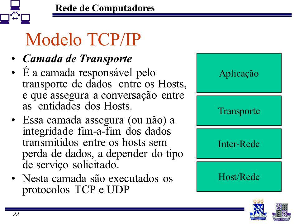 Rede de Computadores 33 Modelo TCP/IP Aplicação Transporte Inter-Rede Host/Rede Camada de Transporte É a camada responsável pelo transporte de dados e