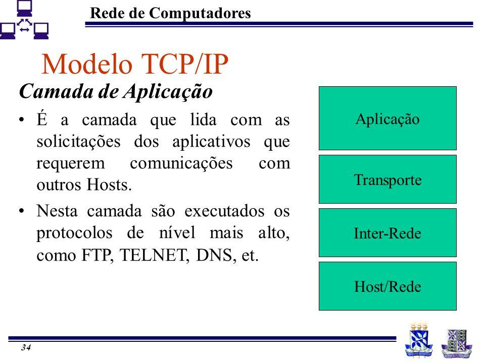 Rede de Computadores 34 Modelo TCP/IP Aplicação Transporte Inter-Rede Host/Rede Camada de Aplicação É a camada que lida com as solicitações dos aplica
