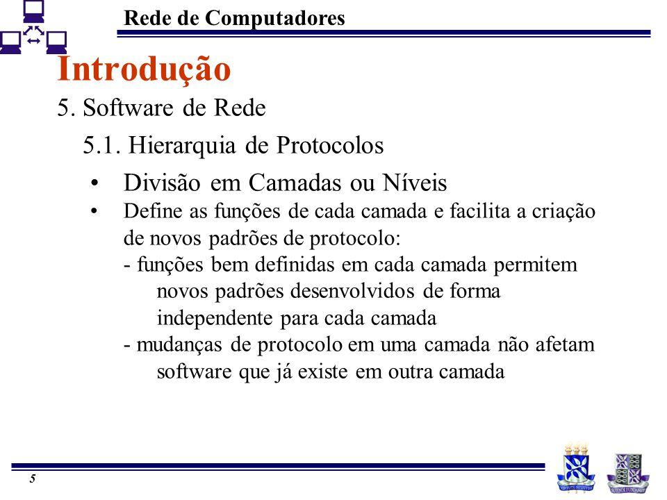 Rede de Computadores 5 Introdução 5. Software de Rede 5.1. Hierarquia de Protocolos Divisão em Camadas ou Níveis Define as funções de cada camada e fa