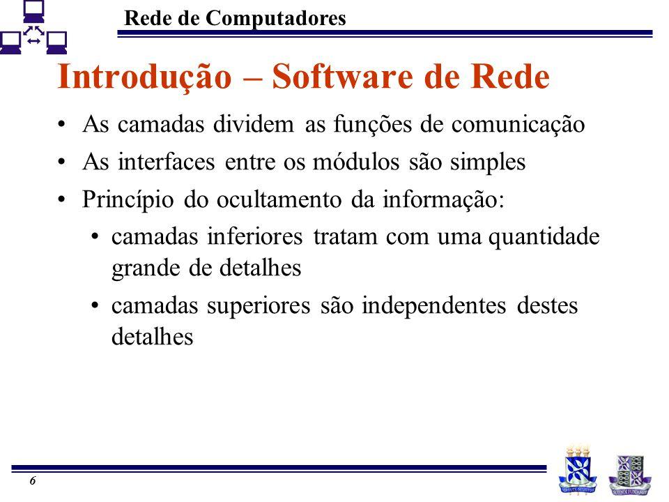 Rede de Computadores 6 Introdução – Software de Rede As camadas dividem as funções de comunicação As interfaces entre os módulos são simples Princípio