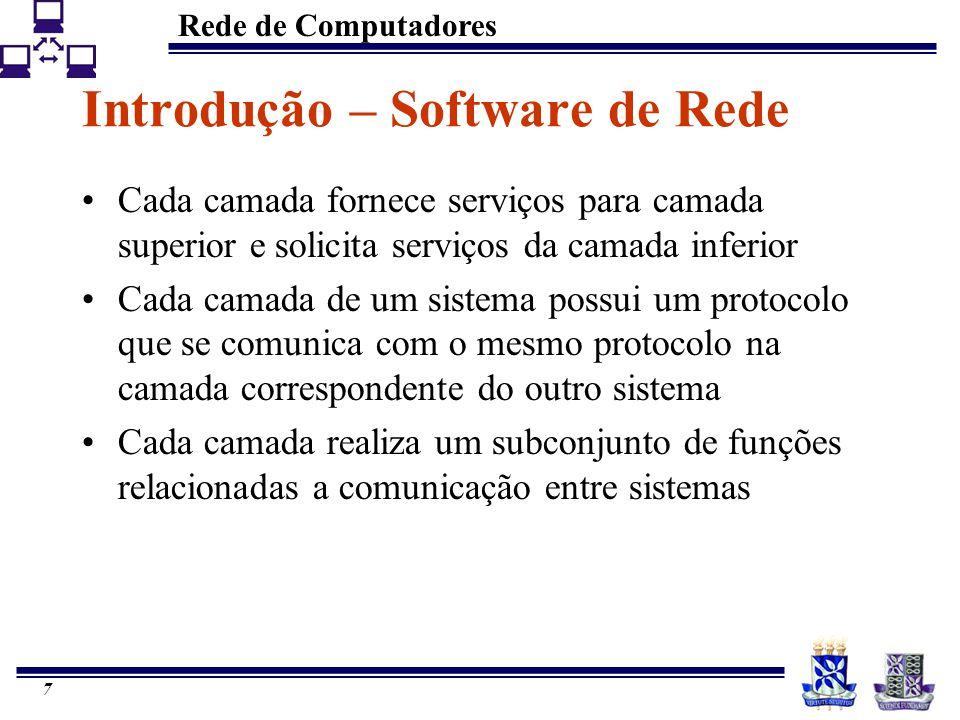 Rede de Computadores 7 Introdução – Software de Rede Cada camada fornece serviços para camada superior e solicita serviços da camada inferior Cada cam