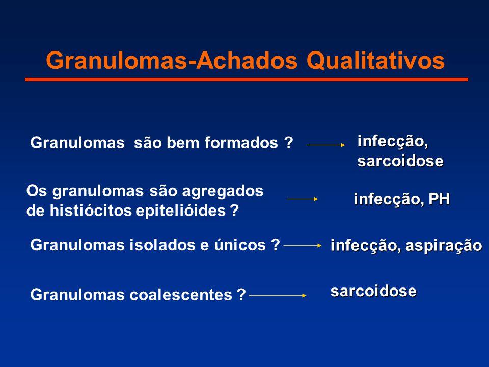 Granulomas-Achados Qualitativos Granulomas são bem formados ? Os granulomas são agregados de histiócitos epitelióides ? infecção, sarcoidose infecção,
