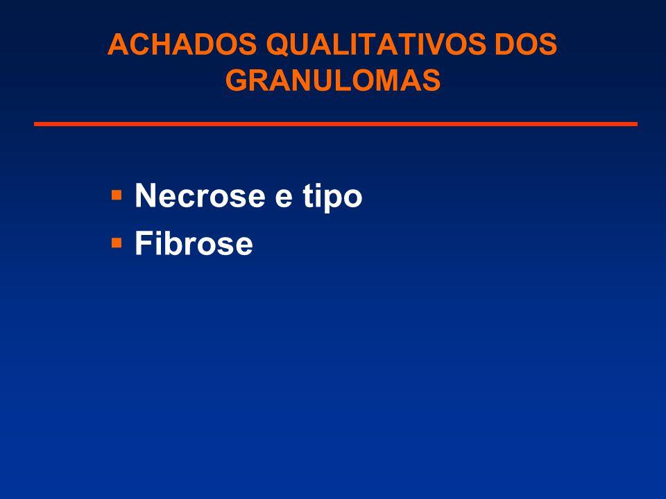 ACHADOS QUALITATIVOS DOS GRANULOMAS  Necrose e tipo  Fibrose