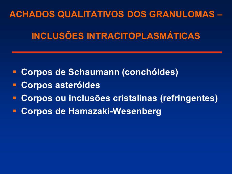 ACHADOS QUALITATIVOS DOS GRANULOMAS – INCLUSÕES INTRACITOPLASMÁTICAS  Corpos de Schaumann (conchóides)  Corpos asteróides  Corpos ou inclusões cris