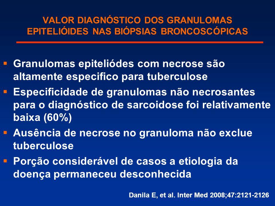 VALOR DIAGNÓSTICO DOS GRANULOMAS EPITELIÓIDES NAS BIÓPSIAS BRONCOSCÓPICAS  Granulomas epiteliódes com necrose são altamente especifico para tuberculo