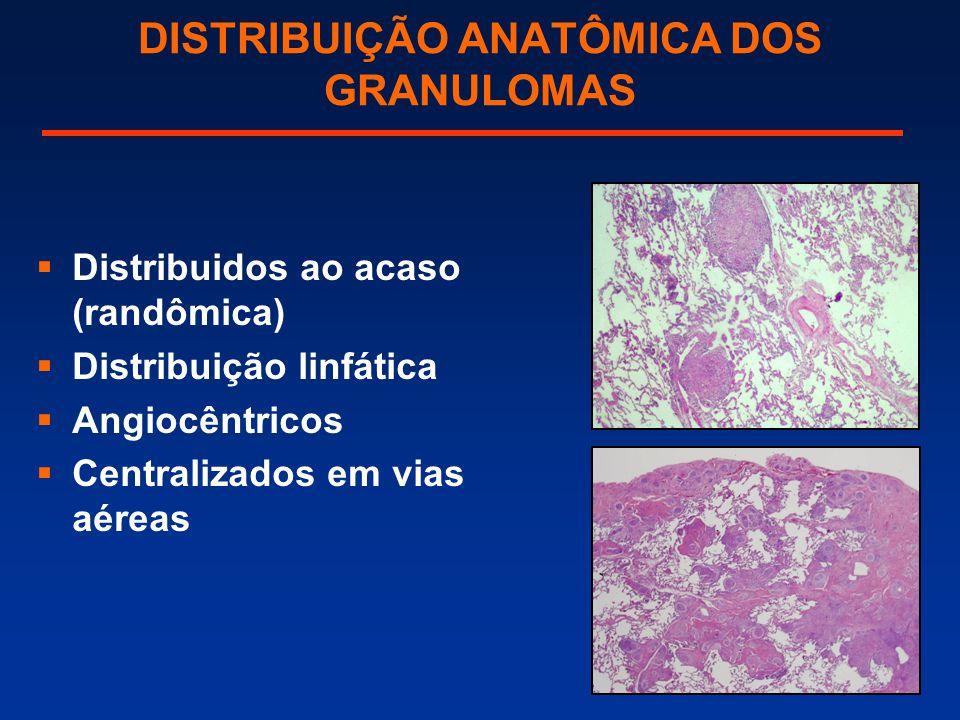 DISTRIBUIÇÃO ANATÔMICA DOS GRANULOMAS  Distribuidos ao acaso (randômica)  Distribuição linfática  Angiocêntricos  Centralizados em vias aéreas