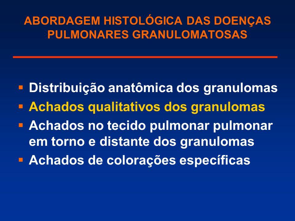 ABORDAGEM HISTOLÓGICA DAS DOENÇAS PULMONARES GRANULOMATOSAS  Distribuição anatômica dos granulomas  Achados qualitativos dos granulomas  Achados no