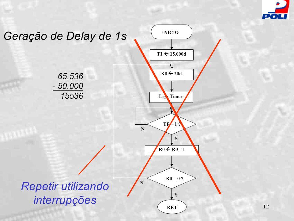 12 Geração de Delay de 1s INÍCIO Liga Timer TF = 1 ? R0  R0 - 1 RET S N S N R0  20d T1  15.000d R0 = 0 ? 65.536 - 50.000 15536 Repetir utilizando i
