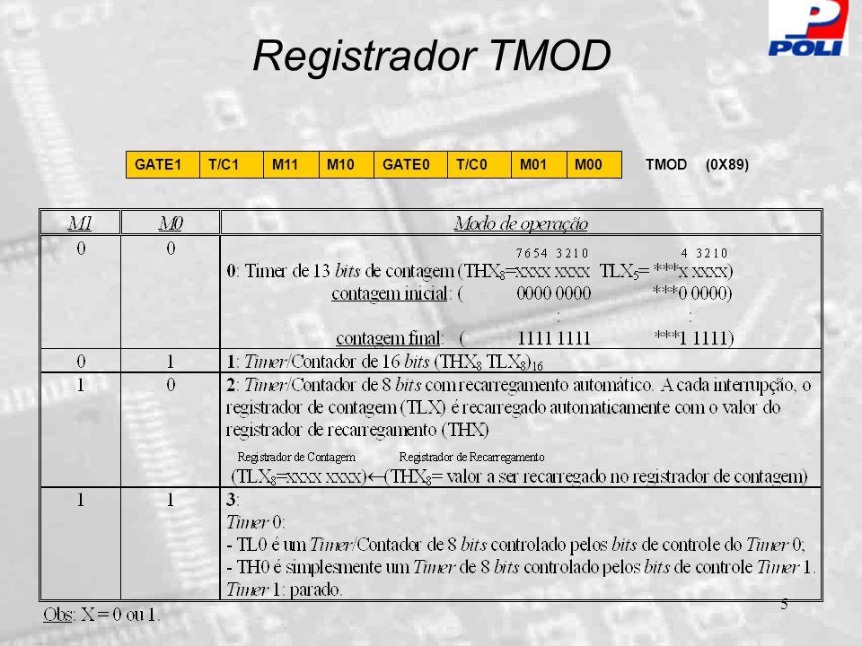 6 Modo 0 dos T/Cs Oscilador  12 TX pino C/T=0 C/T=1 THX 8 TLX 5 TFX Controle GATE Porta AND INTX Porta OR TRX Interrupção Timer/Contador no Modo 0 de operação (Prescaler: 13 bits de contagem).