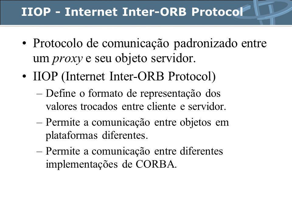 IIOP - Internet Inter-ORB Protocol Protocolo de comunicação padronizado entre um proxy e seu objeto servidor.