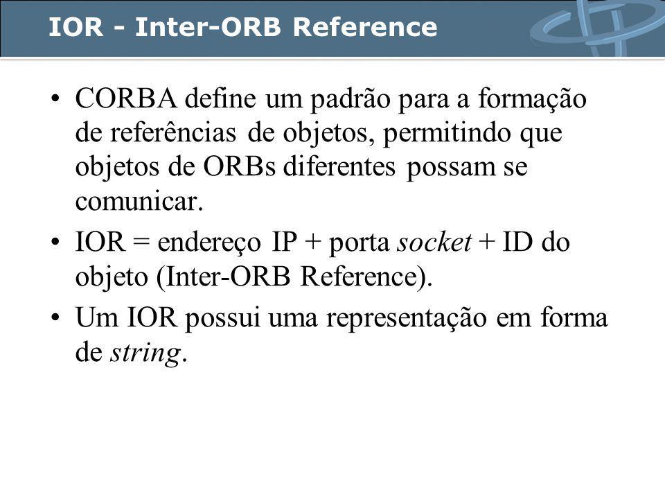 IOR - Inter-ORB Reference CORBA define um padrão para a formação de referências de objetos, permitindo que objetos de ORBs diferentes possam se comunicar.