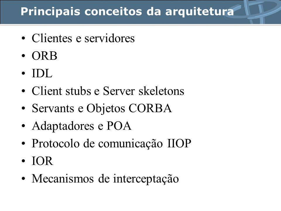 Principais conceitos da arquitetura Clientes e servidores ORB IDL Client stubs e Server skeletons Servants e Objetos CORBA Adaptadores e POA Protocolo de comunicação IIOP IOR Mecanismos de interceptação
