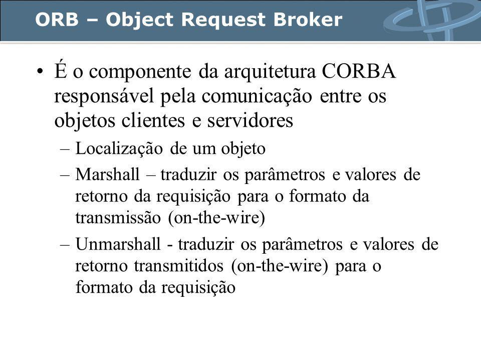 ORB – Object Request Broker É o componente da arquitetura CORBA responsável pela comunicação entre os objetos clientes e servidores –Localização de um objeto –Marshall – traduzir os parâmetros e valores de retorno da requisição para o formato da transmissão (on-the-wire) –Unmarshall - traduzir os parâmetros e valores de retorno transmitidos (on-the-wire) para o formato da requisição