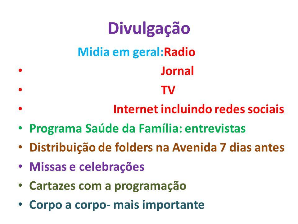 Atividades Anteriores ao dia 15/04/2012:Sessão Solene Audiência Pública Gincana Palestras Espaço recreativo para crianças Atividades para jovens, adultos e idosos