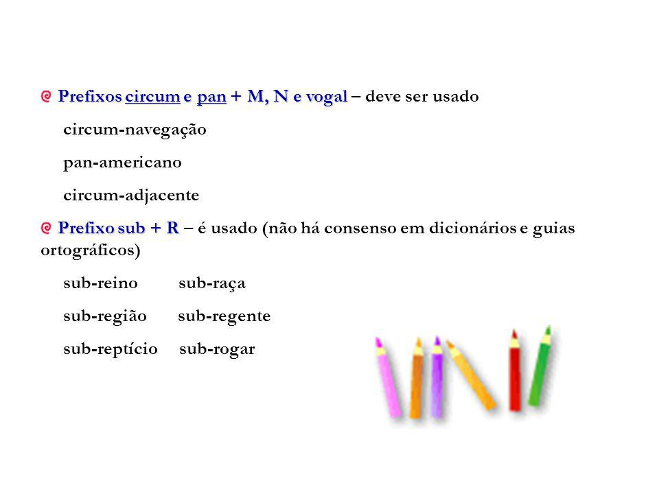 Prefixos circum e pan + M, N e vogal Prefixos circum e pan + M, N e vogal – deve ser usado circum-navegação pan-americano circum-adjacente Prefixo sub