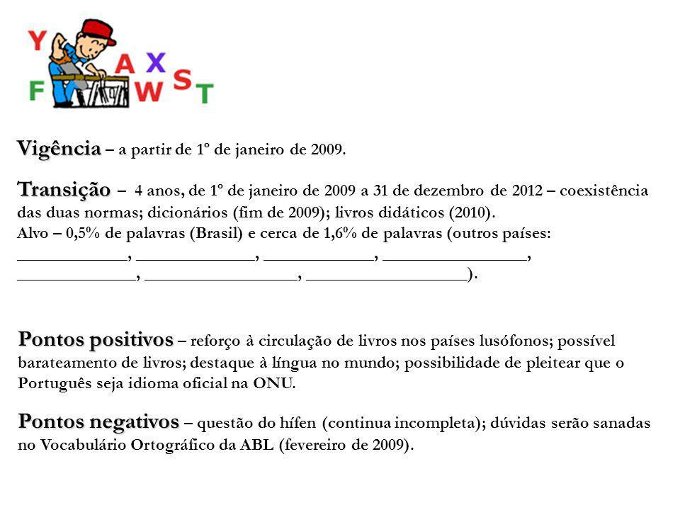 Vigência Vigência – a partir de 1º de janeiro de 2009. Transição Transição – 4 anos, de 1º de janeiro de 2009 a 31 de dezembro de 2012 – coexistência
