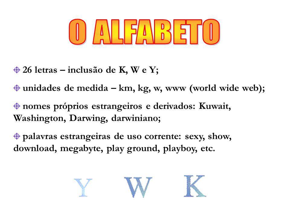 26 letras – inclusão de K, W e Y; unidades de medida – km, kg, w, www (world wide web); nomes próprios estrangeiros e derivados: Kuwait, Washington, Darwing, darwiniano; palavras estrangeiras de uso corrente: sexy, show, download, megabyte, play ground, playboy, etc.