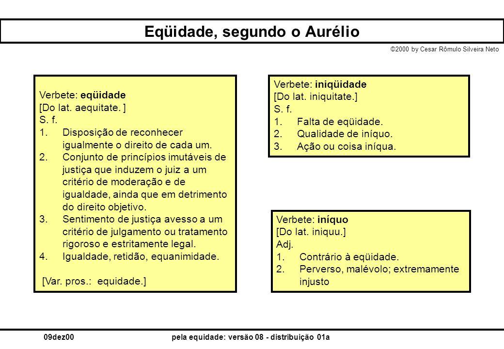 ©2000 by Cesar Rômulo Silveira Neto 09dez00pela equidade: versão 08 - distribuição 01a Eqüidade, segundo o Aurélio Verbete: eqüidade [Do lat. aequitat