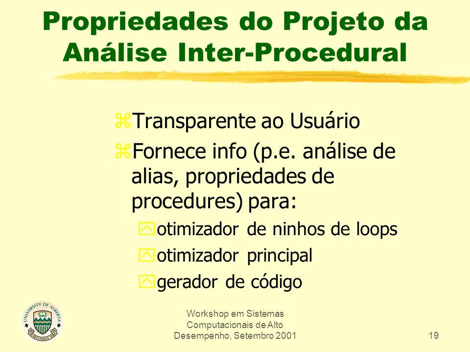 Workshop em Sistemas Computacionais de Alto Desempenho, Setembro 200119 Propriedades do Projeto da Análise Inter-Procedural zTransparente ao Usuário zFornece info (p.e.