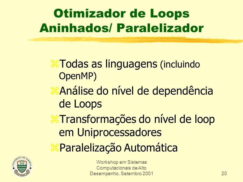Workshop em Sistemas Computacionais de Alto Desempenho, Setembro 200120 Otimizador de Loops Aninhados/ Paralelizador zTodas as linguagens (incluindo OpenMP) zAnálise do nível de dependência de Loops zTransformações do nível de loop em Uniprocessadores zParalelização Automática