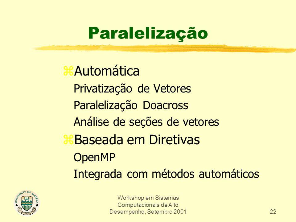 Workshop em Sistemas Computacionais de Alto Desempenho, Setembro 200122 Paralelização zAutomática Privatização de Vetores Paralelização Doacross Análise de seções de vetores zBaseada em Diretivas OpenMP Integrada com métodos automáticos