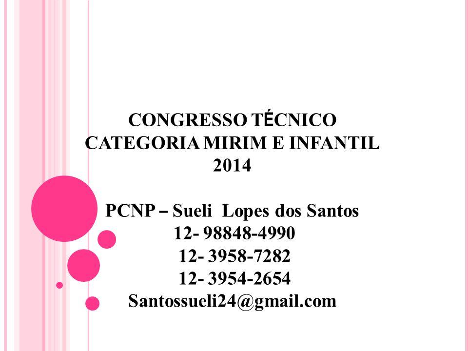 CONGRESSO T É CNICO CATEGORIA MIRIM E INFANTIL 2014 PCNP – Sueli Lopes dos Santos 12- 98848-4990 12- 3958-7282 12- 3954-2654 Santossueli24@gmail.com