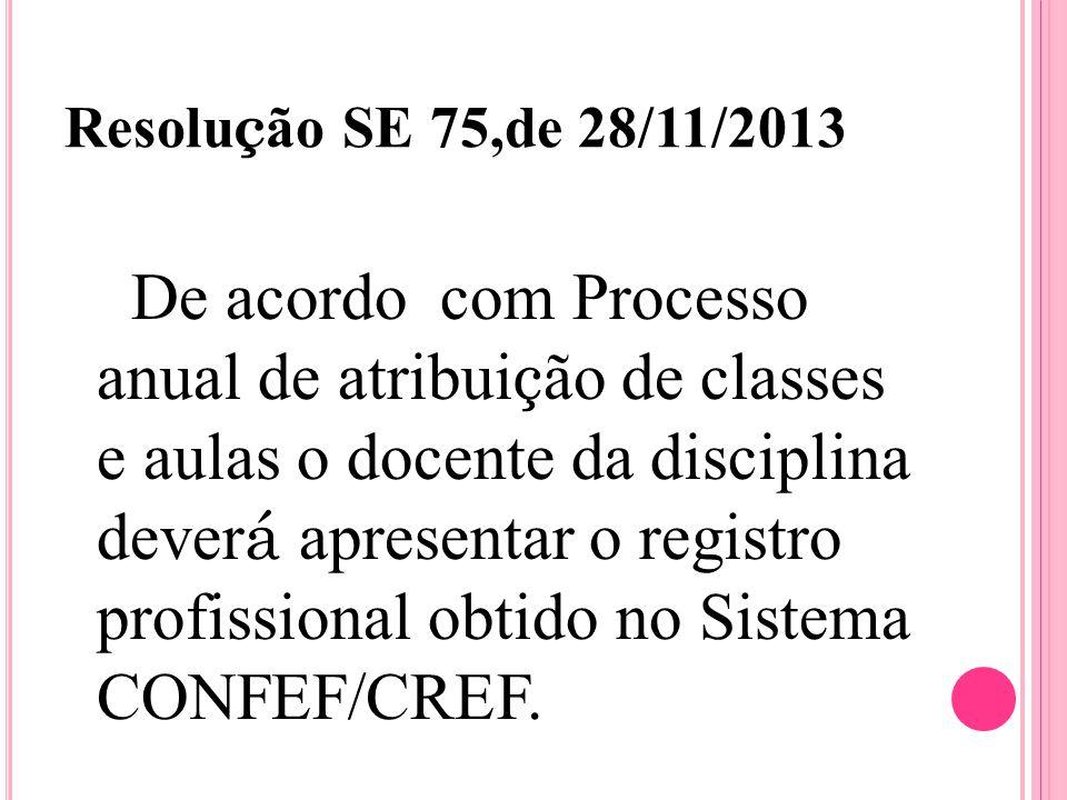 Resolu ç ão SE 75,de 28/11/2013 De acordo com Processo anual de atribui ç ão de classes e aulas o docente da disciplina dever á apresentar o registro profissional obtido no Sistema CONFEF/CREF.