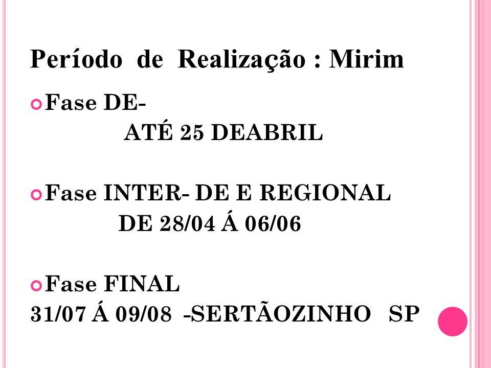 Per í odo de Realiza ç ão : Mirim Fase DE- ATÉ 25 DEABRIL Fase INTER- DE E REGIONAL DE 28/04 Á 06/06 Fase FINAL 31/07 Á 09/08 -SERTÃOZINHO SP