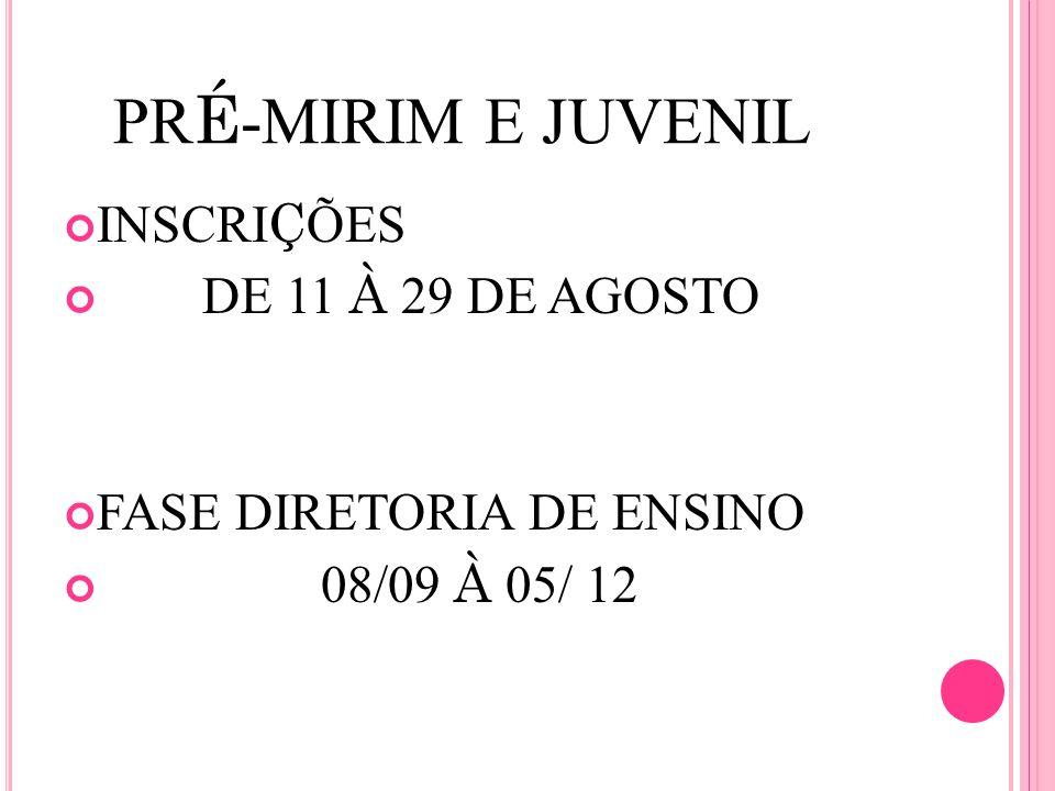 PR É -MIRIM E JUVENIL INSCRI Ç ÕES DE 11 À 29 DE AGOSTO FASE DIRETORIA DE ENSINO 08/09 À 05/ 12