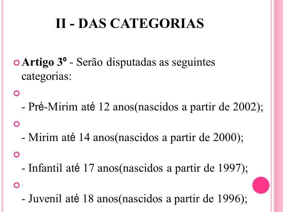 II - DAS CATEGORIAS Artigo 3 º - Serão disputadas as seguintes categorias: - Pr é -Mirim at é 12 anos(nascidos a partir de 2002); - Mirim at é 14 anos(nascidos a partir de 2000); - Infantil at é 17 anos(nascidos a partir de 1997); - Juvenil at é 18 anos(nascidos a partir de 1996);