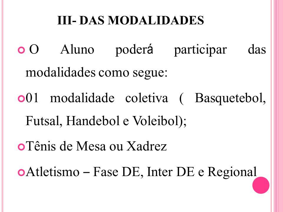 III- DAS MODALIDADES O Aluno poder á participar das modalidades como segue: 01 modalidade coletiva ( Basquetebol, Futsal, Handebol e Voleibol); Tênis de Mesa ou Xadrez Atletismo – Fase DE, Inter DE e Regional