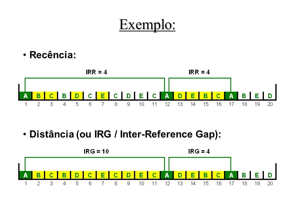 Recência: Distância (ou IRG / Inter-Reference Gap): Exemplo: