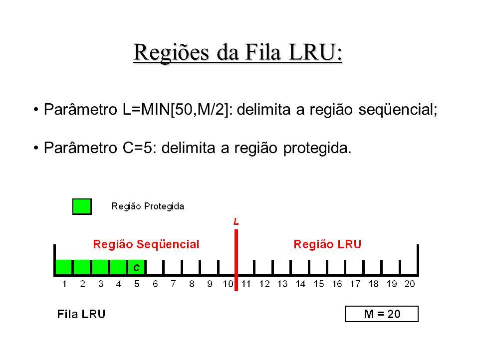 Parâmetro L=MIN[50,M/2]: delimita a região seqüencial; Parâmetro C=5: delimita a região protegida.