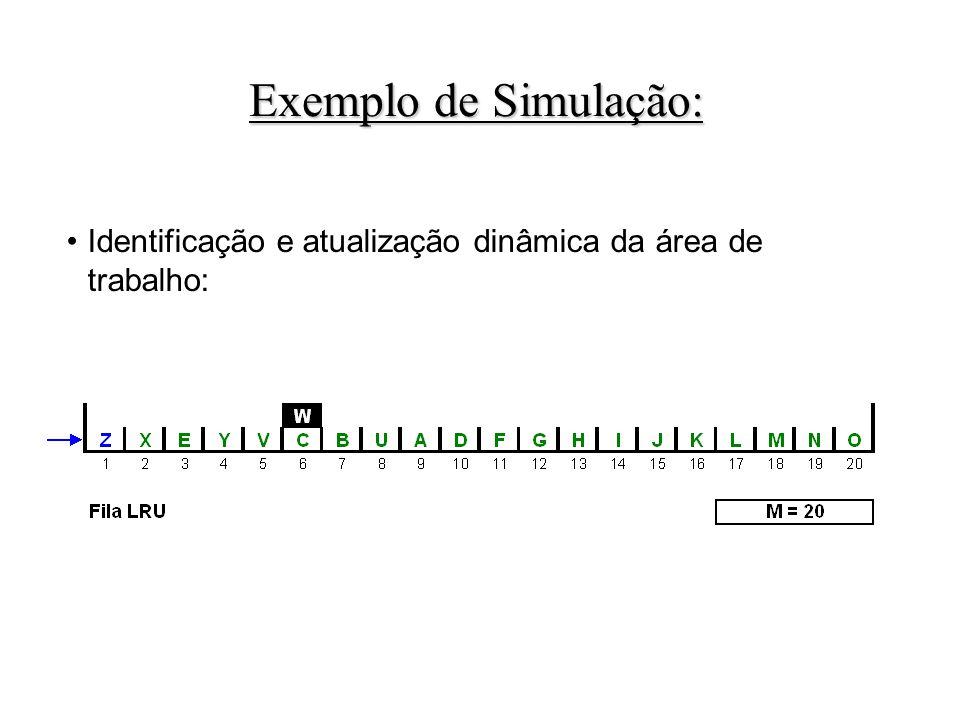Identificação e atualização dinâmica da área de trabalho: Exemplo de Simulação: