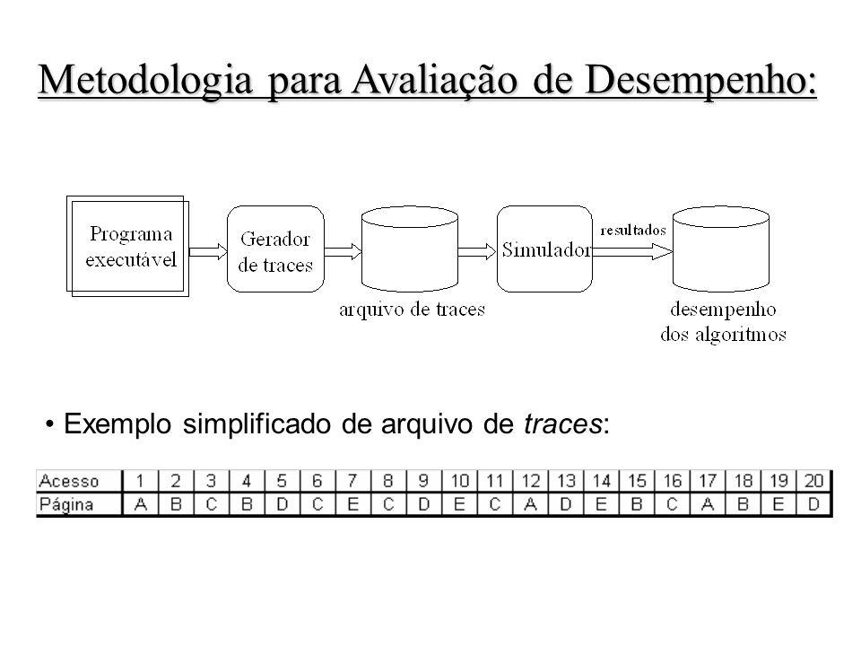 Exemplo simplificado de arquivo de traces: Metodologia para Avaliação de Desempenho: